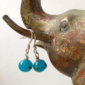 Handmade Aqua Lampwork Glass Bead Dainty Earrings